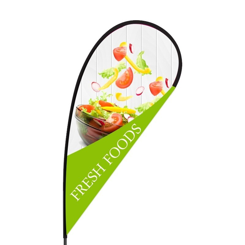 fresh food store teardrop flag