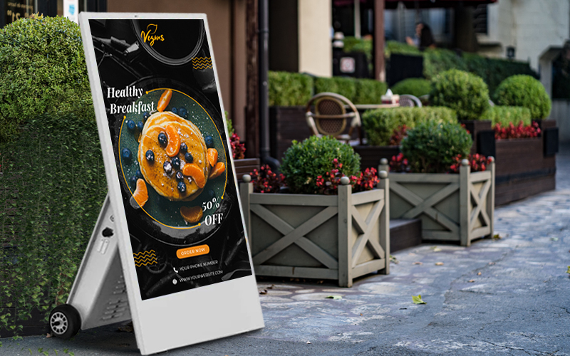 battery operated rolling digital signage display